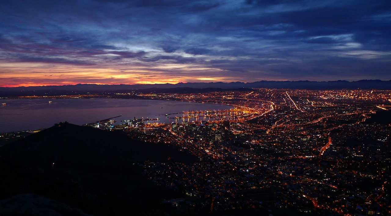 View of Cape Town during a Full Moon hike in summer