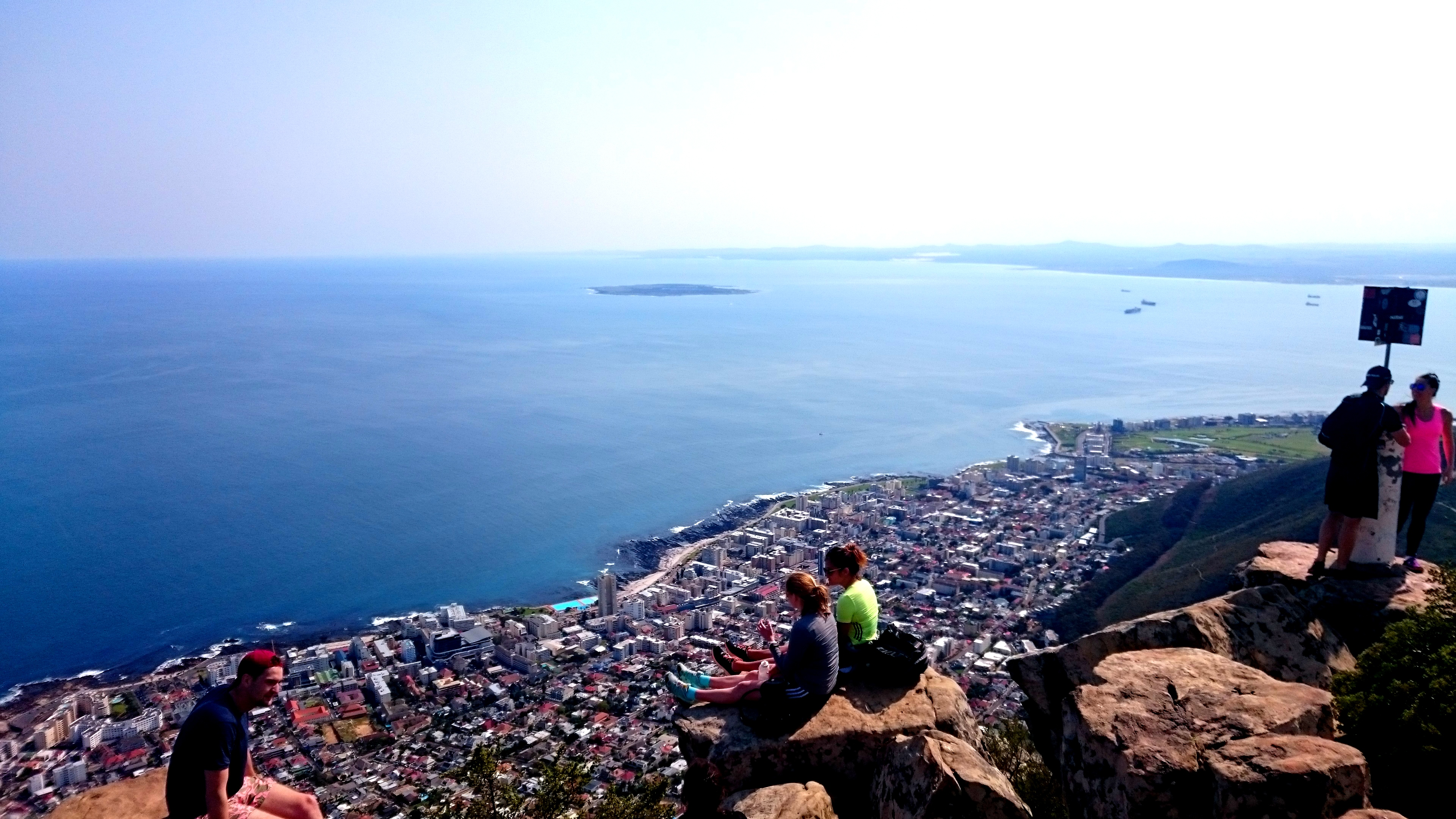 View from the top of Lion's Head. Robben Island spotted in the distance