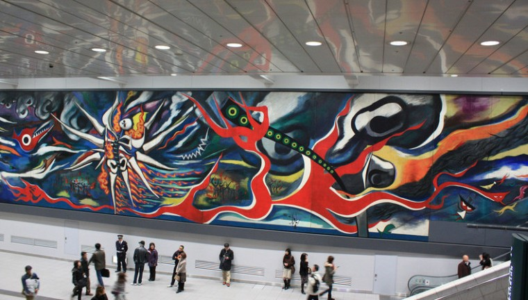 World War II mural by Taro Okamoto in Shibuya Mark City