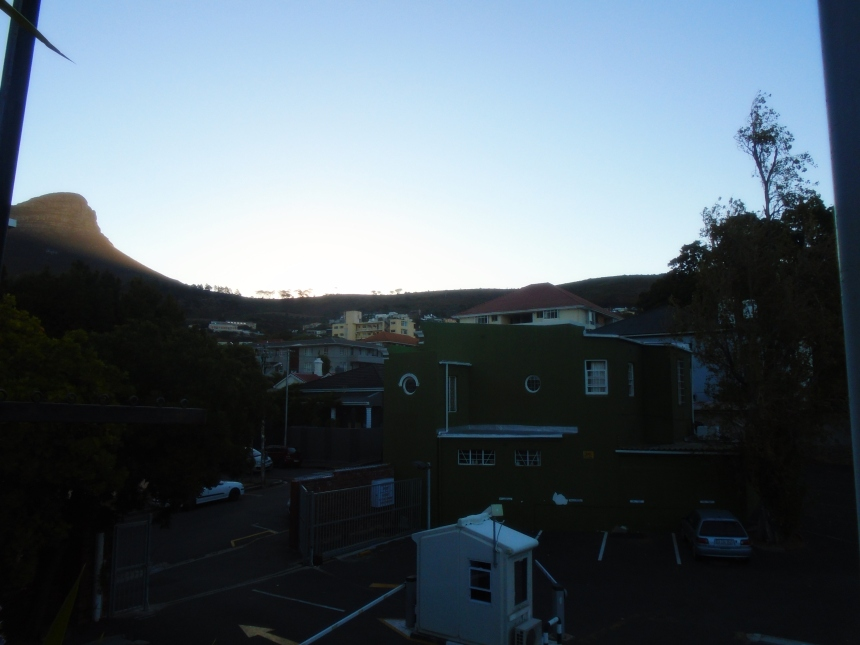 Sunset over signal hill from Rick's Cafe in Park Street