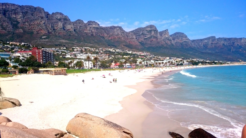 Relaxing on the beach afterwards looking at the Twelve Apostles (mountain heads)