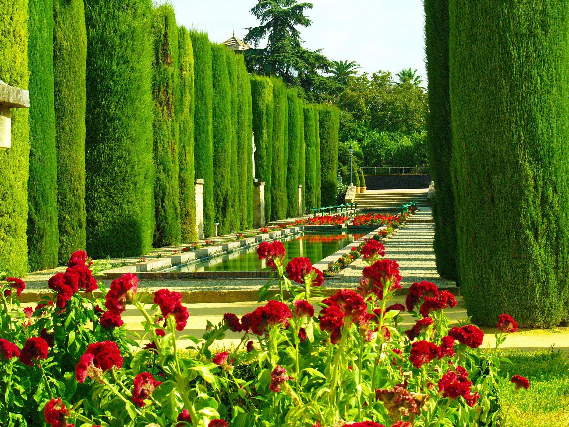 Lush green gardens of Alcazar de los Reyes Cristianos, Cordoba