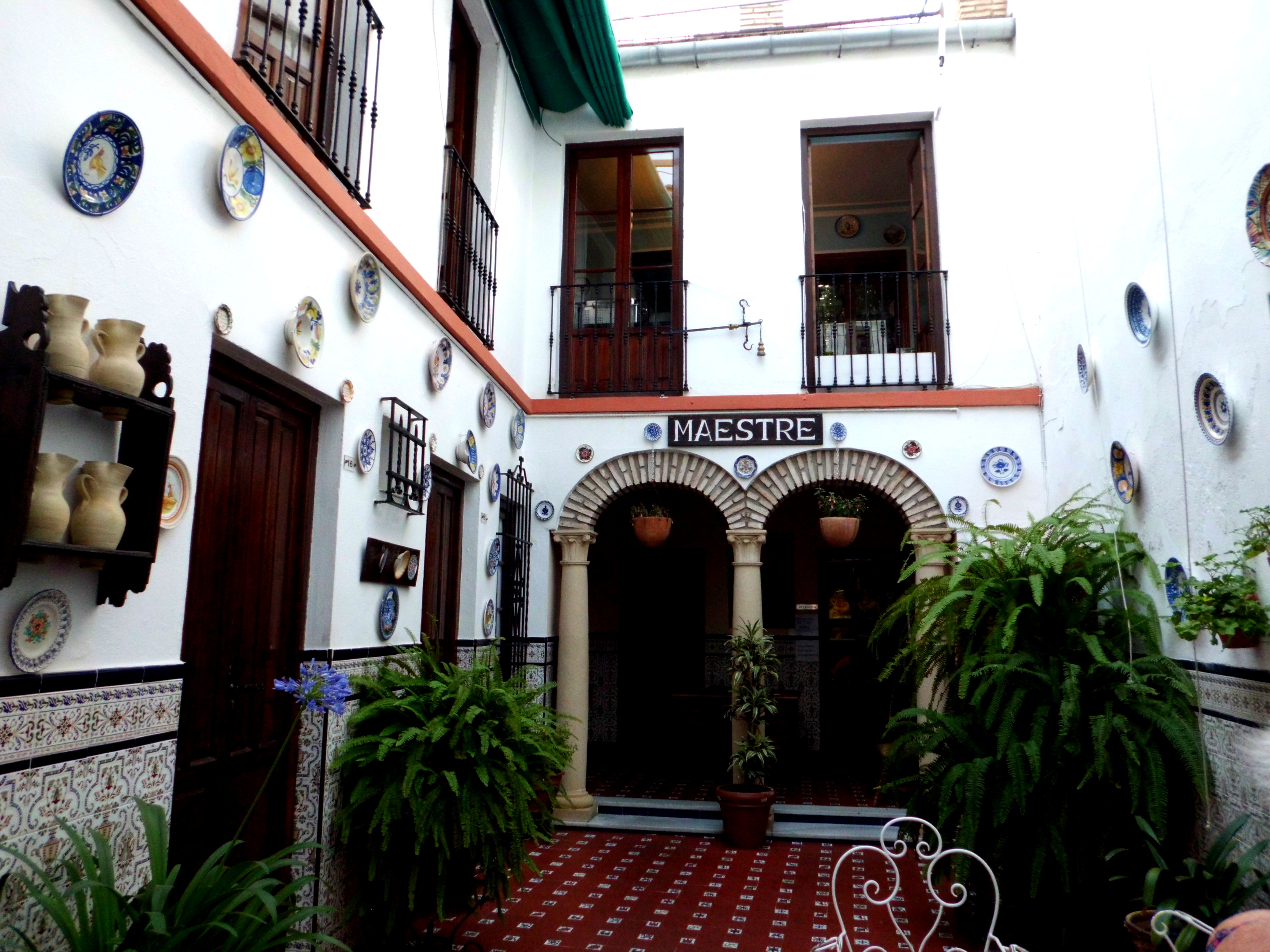 Entrance courtyard of our budget hotel, Hotel Maestre
