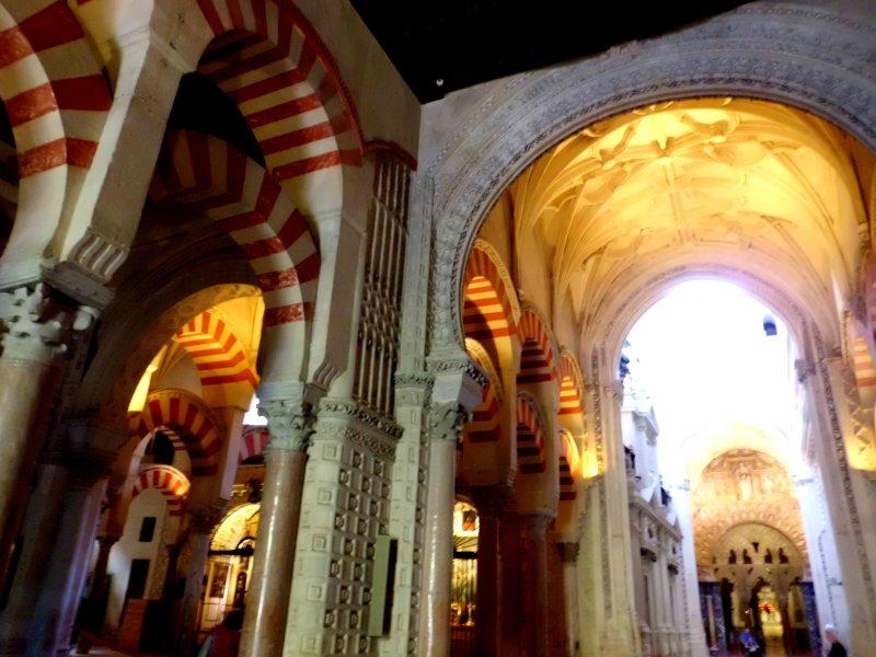 The Famous Moorish arches inside the Mezquita, Cordoba, Spain