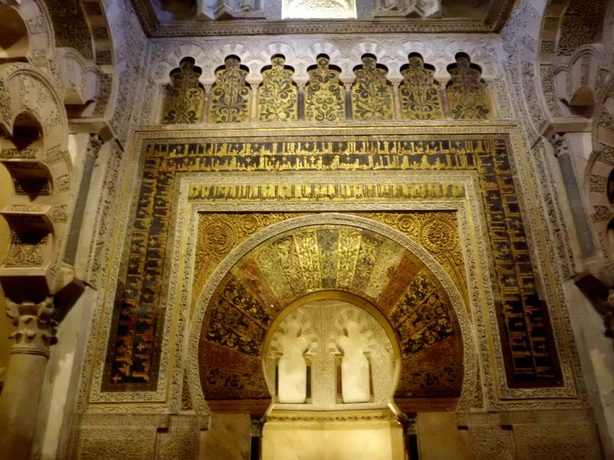 The magnificent mihrab (prayer niche) of the Mezquita