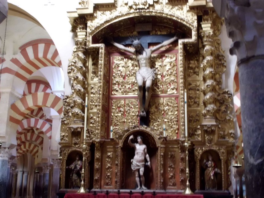 Jesus on the cross inside the Mezquita