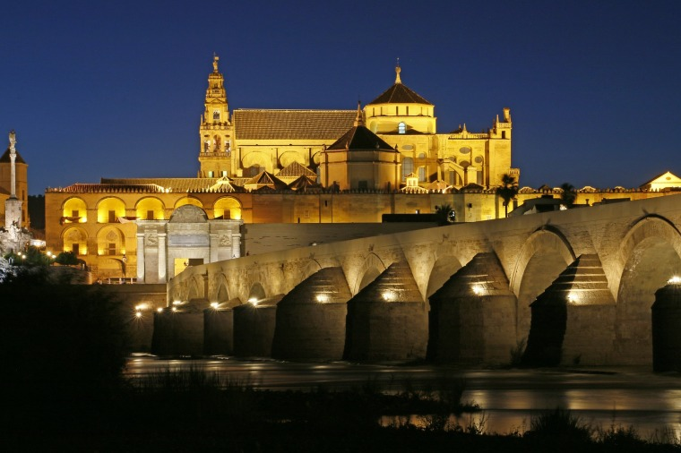 View of the Mezquita at night from the Roman Bridge, Cordoba