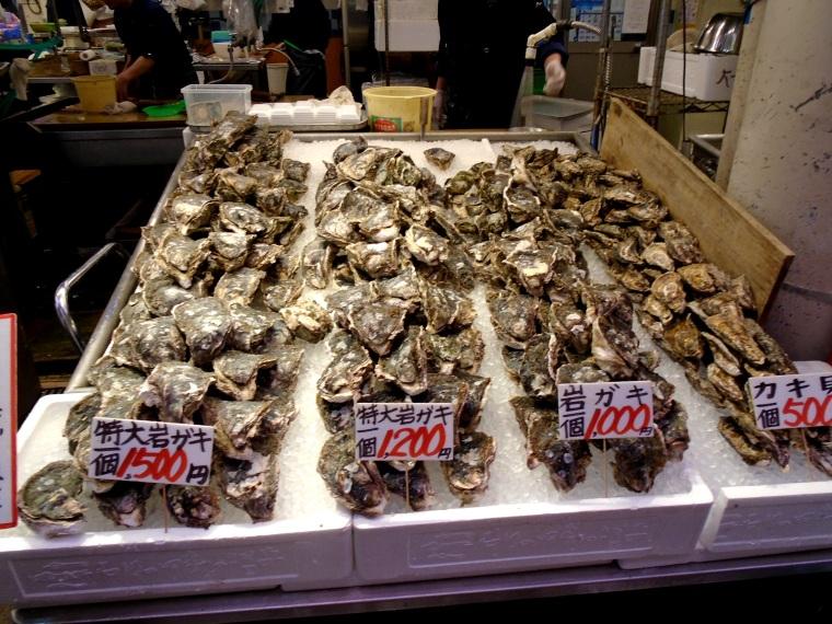 Fresh oysters from Kanazawa's Omicho Market