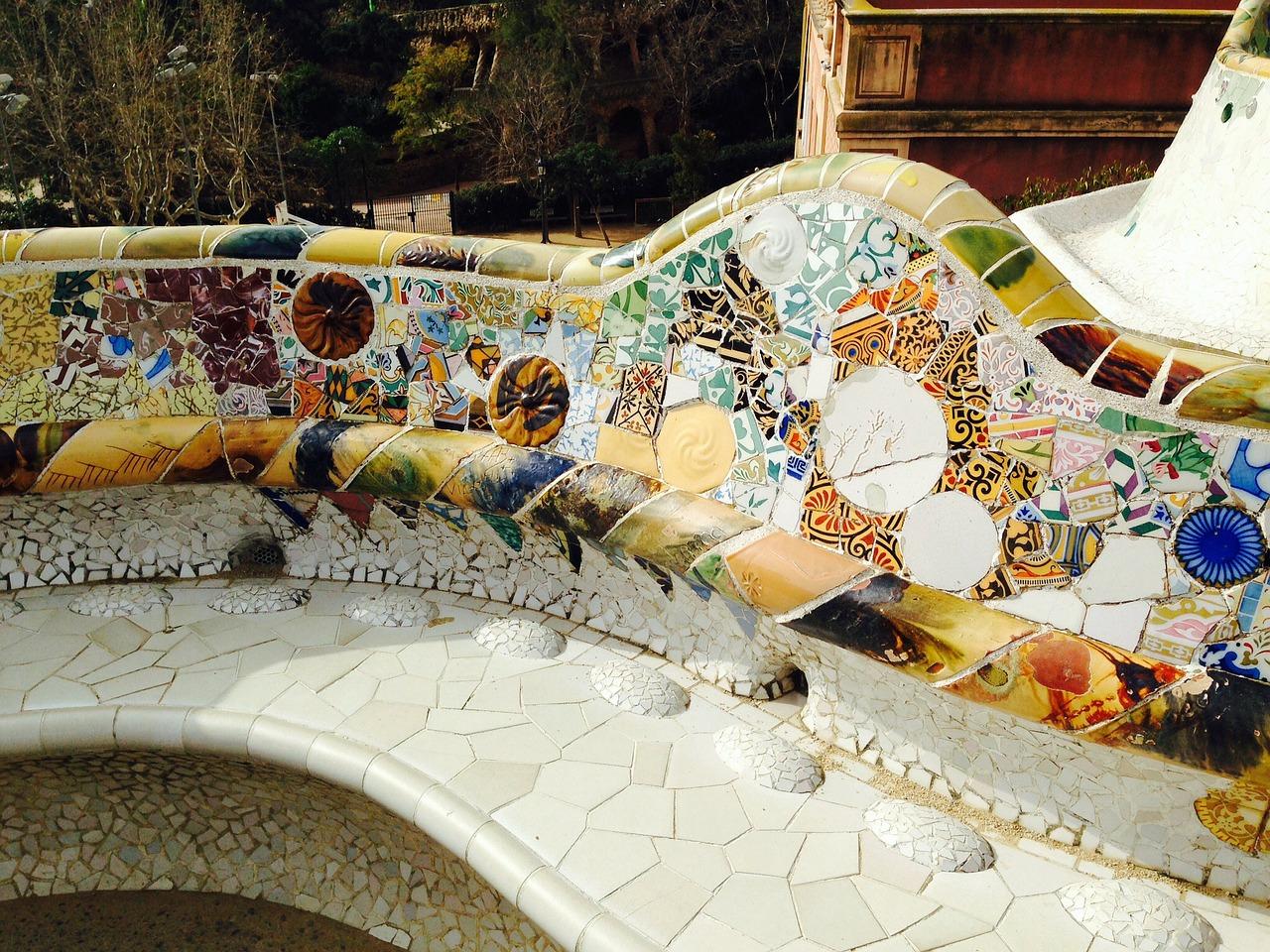 Barcelona Gaudi Park Guell tile details